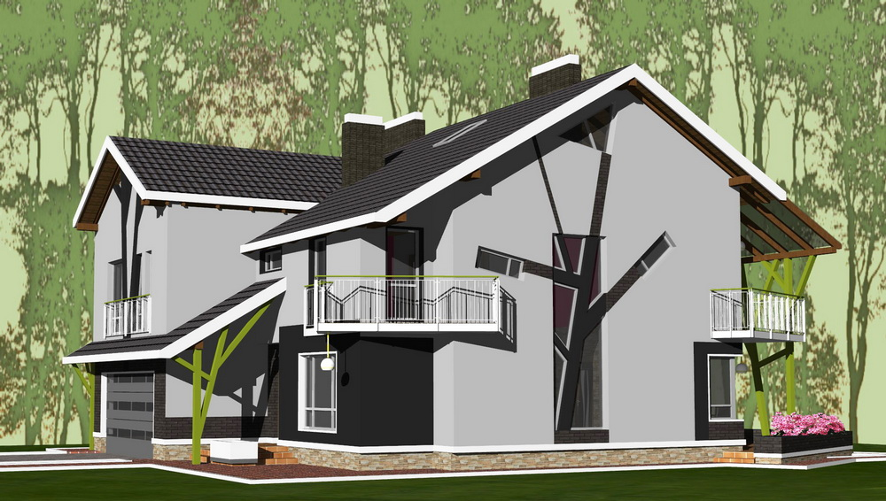 """Стилізація """"дерев"""" в архітектурі житлового будинку"""