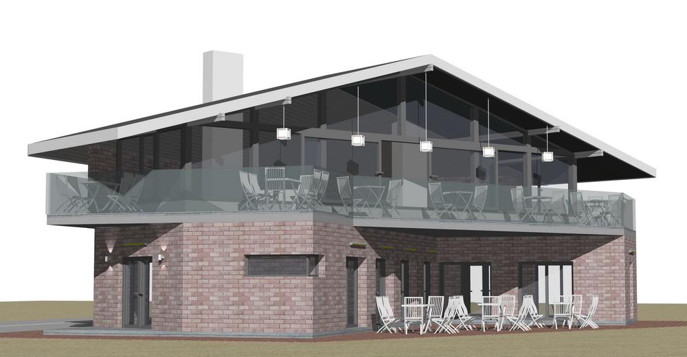 Ескіз реконструкції будівлі старої пошти під кафе в с. Микуличин. Карпати